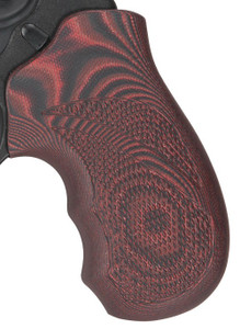 Pachmayr G10 Grips Ruger Lcr - Red/black Checkered