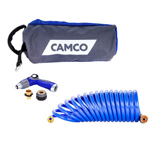 Camco 20' Coiled Hose & Spray Nozzle Kit