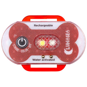 Lunasea Dog Safety Water Activated Strobe Light - Red Case & Blue Attention Light