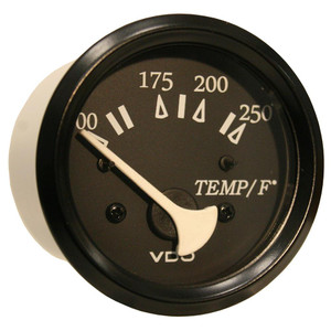 VDO Allentare Black 250F Water Temperature Gauge - Use w/Marine 450-29 Ohm Sender - 12V - Black Bezel