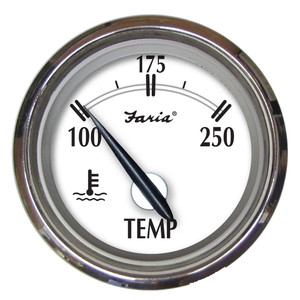 """Faria Newport SS 2"""" Water Temperature Gauge - 100 to 250 F"""