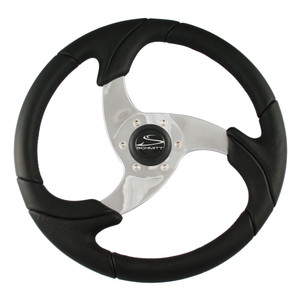 """Schmitt & Ongaro Folletto 14.2"""" Black Poly Steering Wheel w/ Polished Spokes and Black Cap - Fits 3/4"""" Tapered Shaft Helm"""