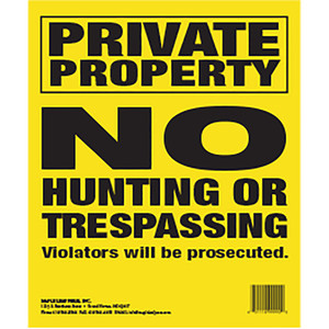 Maple Leaf No Trespassing Sign Yellow 10 X 12 In. Vertical