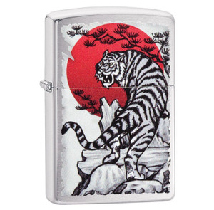 Zippo Brushed Chrome Asian Tiger Design Lighter
