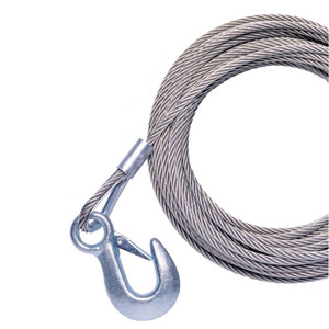 """Powerwinch Cable 7/32"""" x 25' Universal Premium Replacement w/Hook - Stainless Steel"""