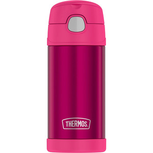 Thermos FUNtainer Stainless Steel Insulated Pink Water Bottle w/Straw - 12oz