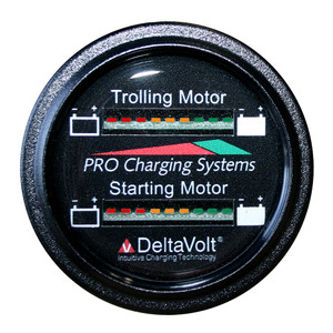 Dual Pro Battery Fuel Gauge - Marine Dual Read Battery Monitor - 12V/24V System - 15' Battery Cable