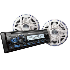 "Power Audio MVH-MS310BT Marine Stereo w/AM/FM/BT & Pair Nautica Marine Series 8"" 100W Dual-Cone Speaker - White"