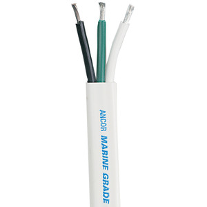 Ancor White Triplex Cable - 16/3 AWG - Flat - 100'