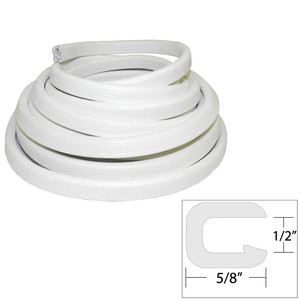 "TACO Flexible Vinyl Trim - "" Opening x ⅝""W x 25'L - White"