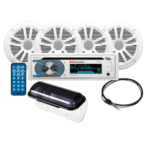 Boss Audio MCK508WB.64S Package w/MR508UABW Stereo - 2-Pair MR6W Speakers & MRC5 Enclosure & Antenna