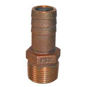 """GROCO 1-1/4"""" NPT x 1-1/8"""" ID Bronze Pipe to Hose Straight Fitting"""