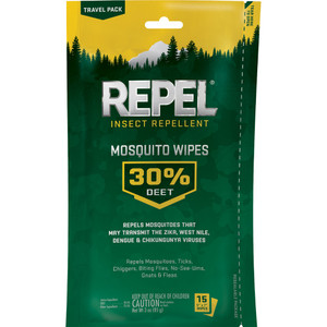Repel Insect Repellent Mosquito Wipes 30% Deet 15 Ct.