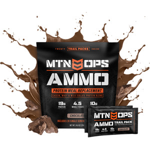 Mtn Ops Ammo Whey Protein Meal Replacement Chocolate Trail Pack 20 Ct.