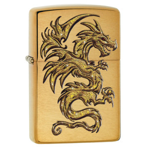 Zippo Brushed Brass Dragon Lighter