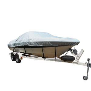 Carver Flex-Fit PRO Polyester Size 6 Boat Cover f/V-Hull Low Profile Cuddy Cabin Boats I/O or O/B - Grey