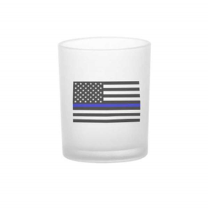 3 Oz. Frosted Thin Blue Line Votive Candle Holders