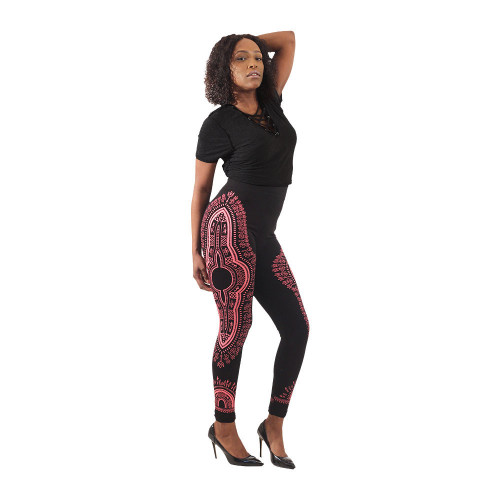 Traditional print black leggings with light pink graphic design