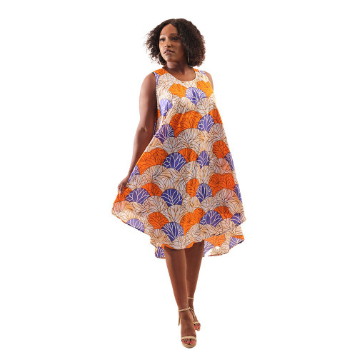 African print orange umbrella  dress