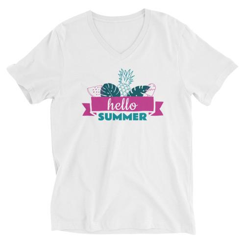 SC Short Sleeve V-Neck Hello Summer T-Shirt