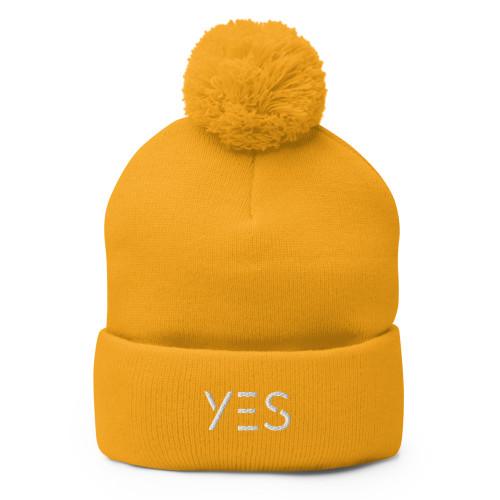 SC YES 3D Embroidery Pom-Pom Beanie