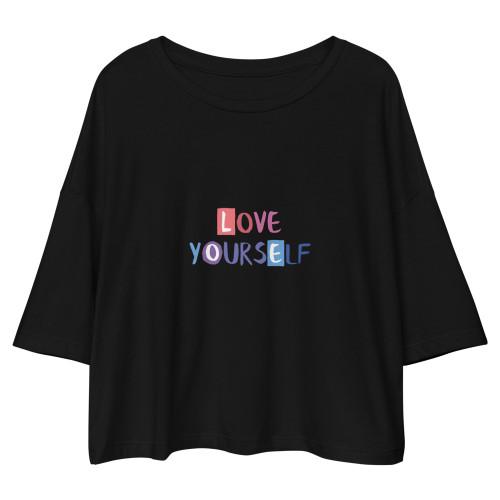 SC Love Yourself Loose Drop Shoulder Crop Top