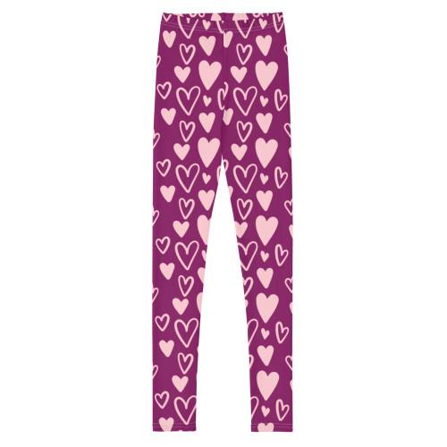 SC Heart Pattern Print-On Youth Leggings