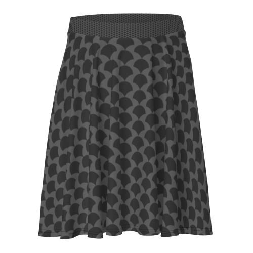 SC Grey Abstract Pattern Print-On Skater Skirt