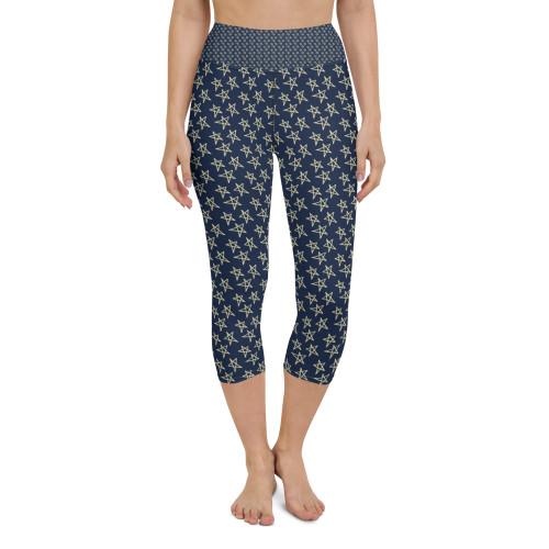 SC Graphic Star Design All-Over-Print Yoga Capri Leggings
