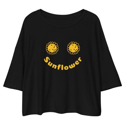 SC Sunflower Loose Drop Shoulder Crop Top