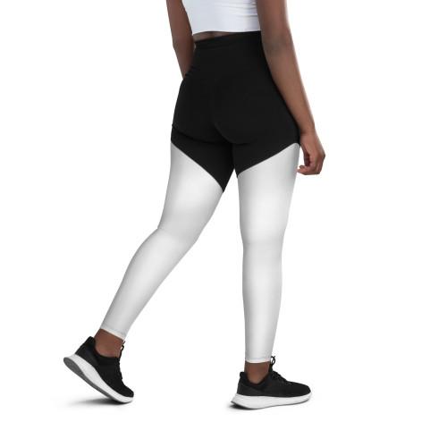 SC Black & White High Waistline Sports Leggings