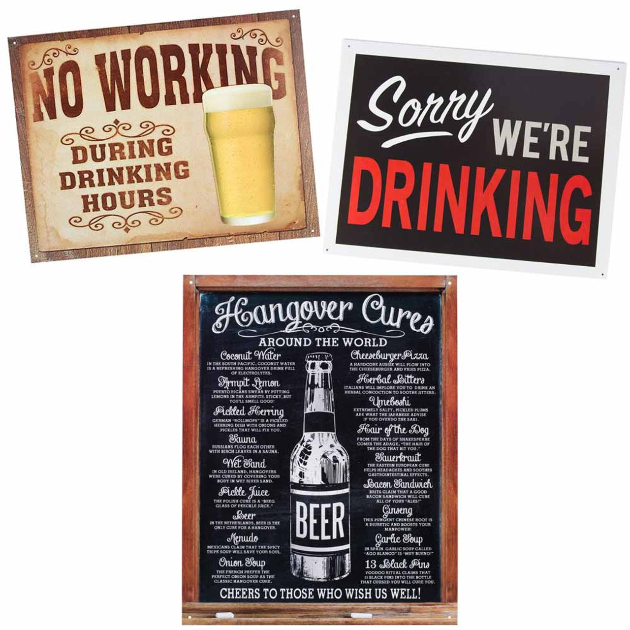 Hangover Cures Around The World funny metal sign de