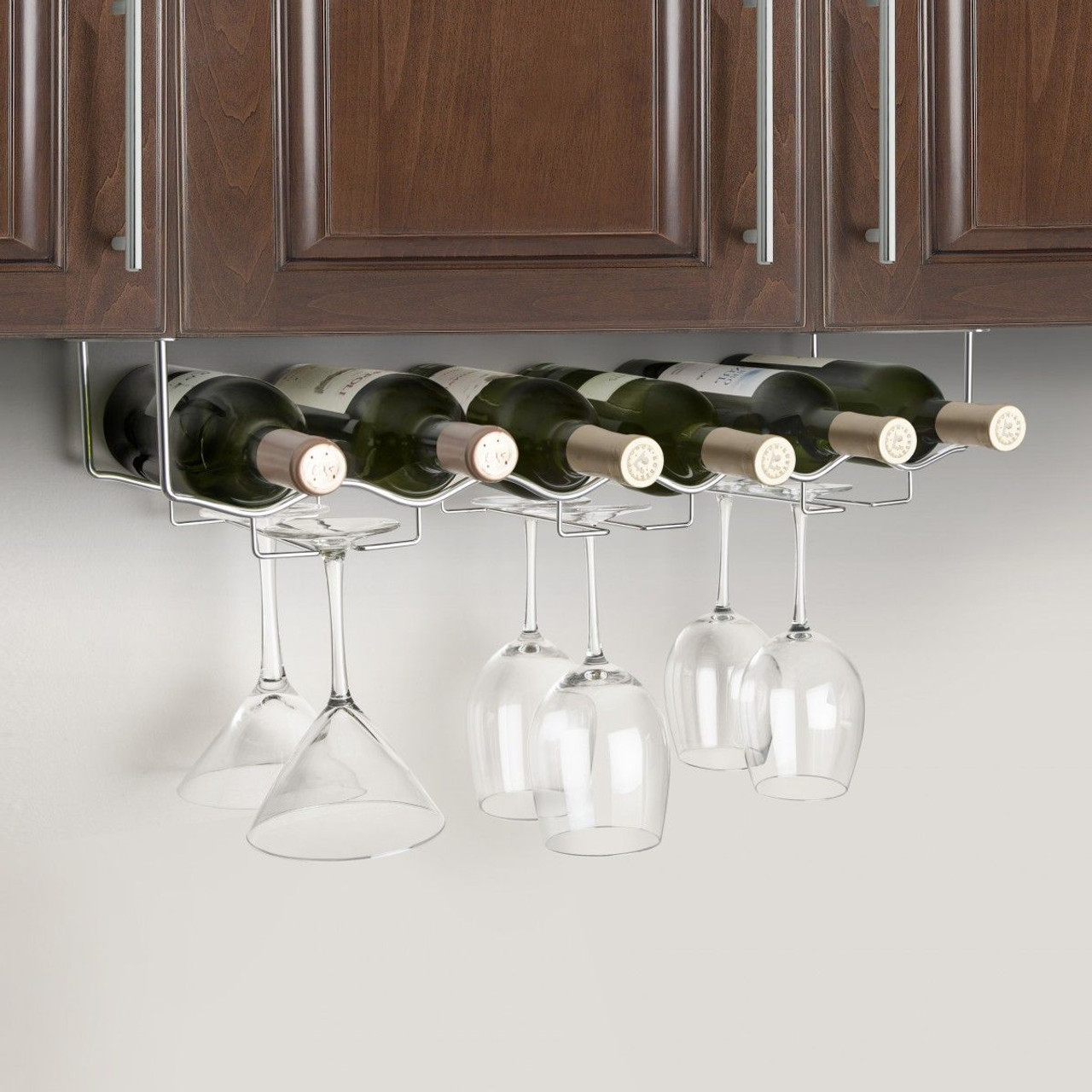Picture of: Under Cabinet 6 Wine Bottle 6 Glass Rack 3 Channel Stainless Steel