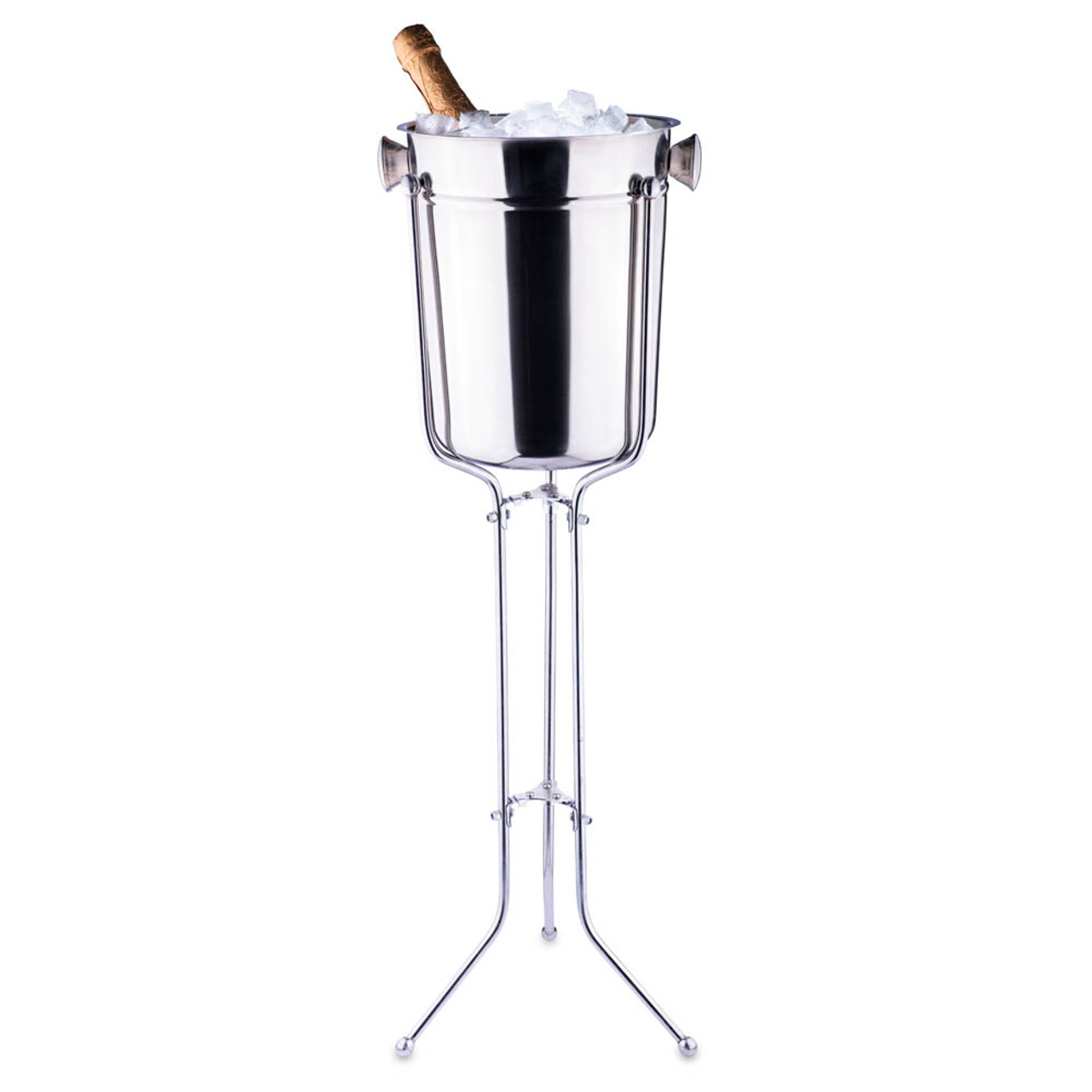 Champagne Wine Bucket With Folding Stand 8 Qt Stainless Steel