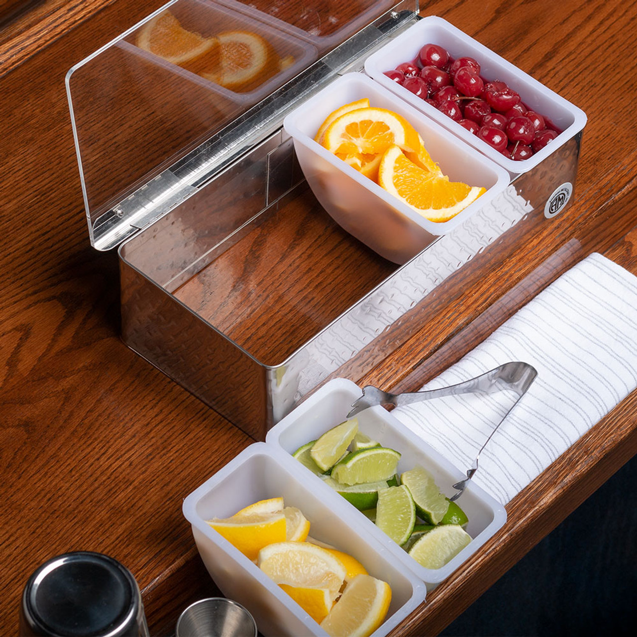 Bar Garnish Tray Hammered Stainless Steel 4 Compartments