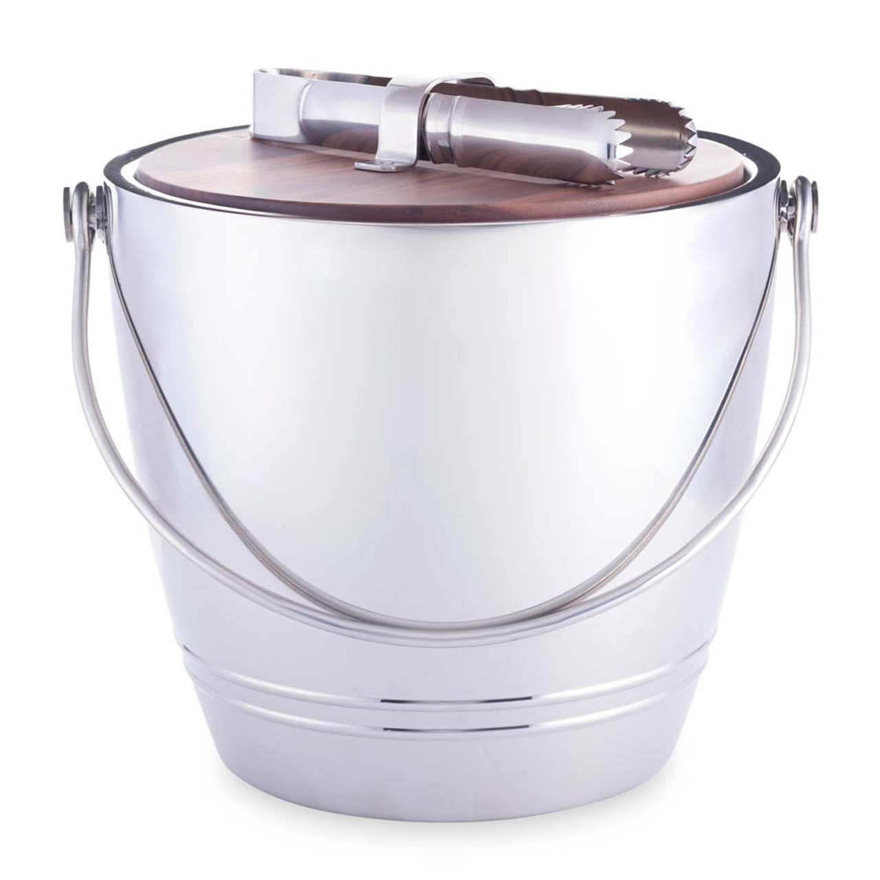 Crafthouse By Fortessa Round Stainless Ice Bucket With Wood Lid Tongs 3 3 Quarts