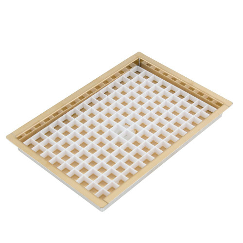 """8 1/8"""" Flanged Mount Drip Tray - Brass Finish - With Drain"""