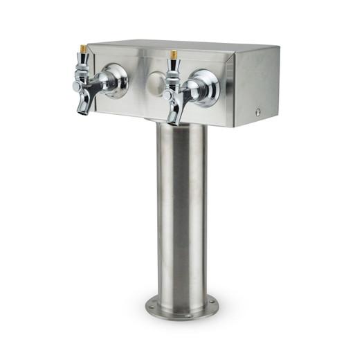 Draft Beer Kegerator T-Tower- Stainless Steel- 2 Draft Beer Faucets