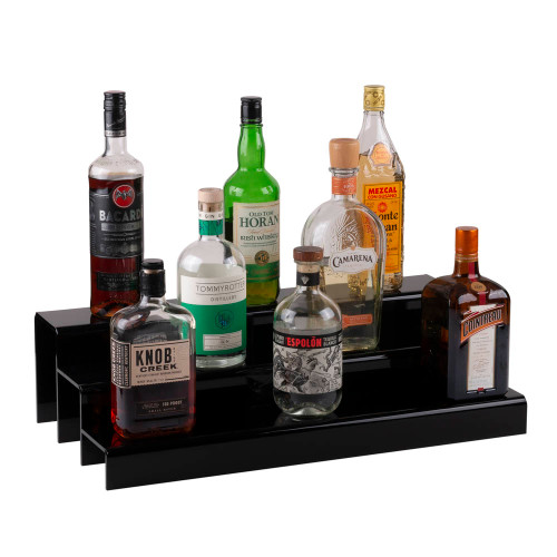 24-inch 3 Tier Liquor Bottle Shelf - Black