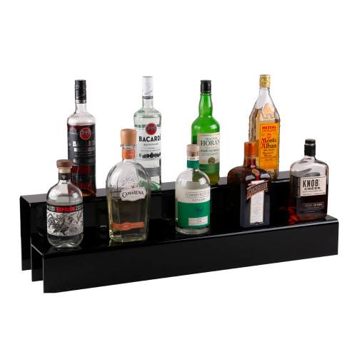 34-inch 2 Tier Liquor Bottle Shelf - Black