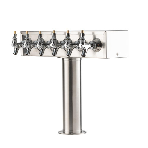"""""""T"""" Style Pedestal Draft Beer Tower - Stainless Steel - 3"""" Column - Air Cooled - 6 Faucets"""