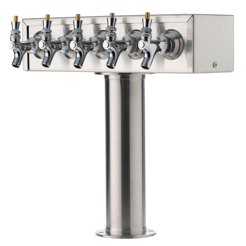 """T"" Style Pedestal Draft Beer Tower - Stainless Steel - 3"" Column - Air Cooled - 5 Faucets"