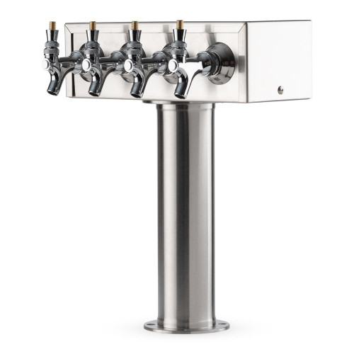 """T"" Style Pedestal Draft Beer Tower - Stainless Steel - 3"" Column - Air Cooled - 4 Faucets"