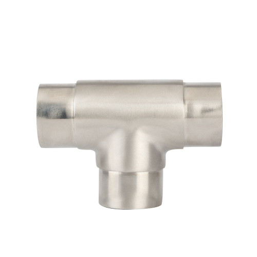 Flush Tee Handrail Fitting - Brushed (Satin) Stainless Steel - 1.5-inch OD
