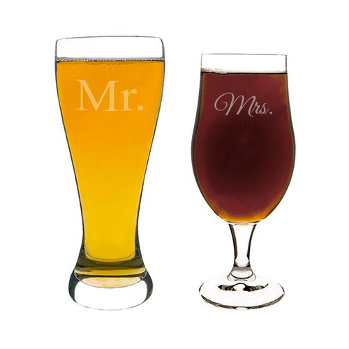 Mr. & Mrs. Engraved Beer Glasses - Set of 2