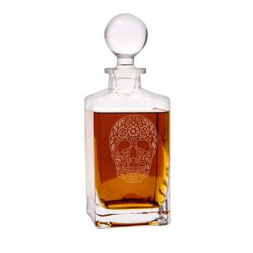 Sugar Skull Square Whiskey Decanter - 32 oz