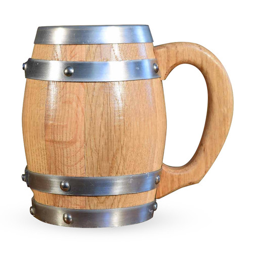 Oak Barrel Mug with Stainless Steel Interior - 16 oz