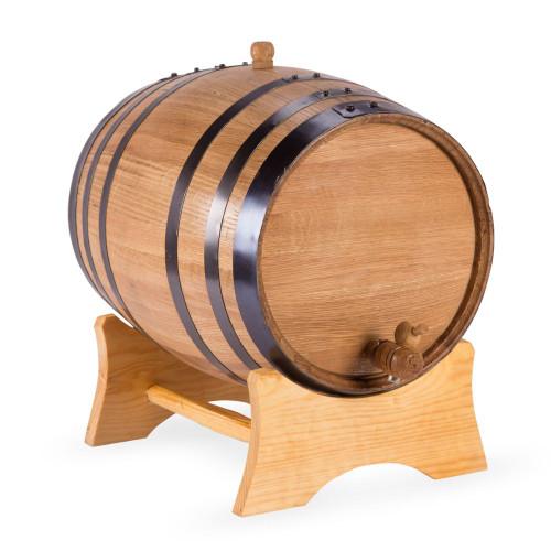 Oak Dispensing Barrel with Stand - Black Steel Bands - Satin Finish - 20 Liter