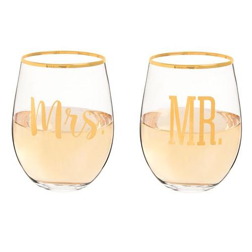 Mr. & Mrs. Gold Rim Stemless Crystal Wine Glasses - 19.25 oz - Set of 2