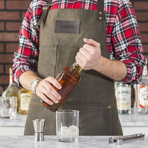 Personalized Men's Waxed Canvas Bartender Apron